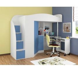 Кровать-чердак Теремок-1 Гранд. Детская с лестницей-комодом «Формула Мебели»