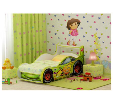 Детская кровать в виде машины Молния Маквин Плюс с выдвижным ящиком, спальное место 170х80 см