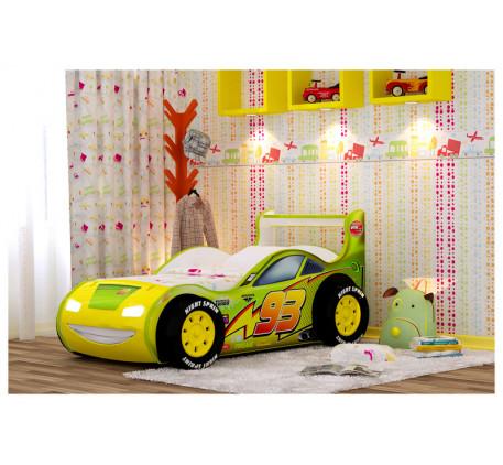 Кровать-машина Молния 3D с подъемным основанием 160х70 см, подсветкой фар, объемными колесами (4 шт)