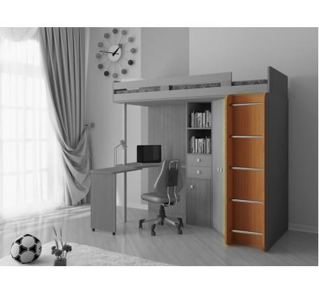 Кровать чердак М85 с лестницей с деревянными боковинами и металлическими ступенями