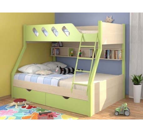 Двухъярусная кровать Дельта 20.02, нижнее спальное место кровати 1900*1200 мм, верхнее 1900*900 мм.