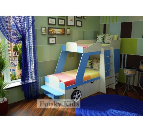 Двухъярусная кровать-машина Джип, спальные места кровати 1700*800 мм.