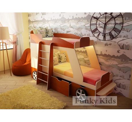 Двухъярусная кровать-машина для детей Джип, спальные места кровати 1700*800 мм.