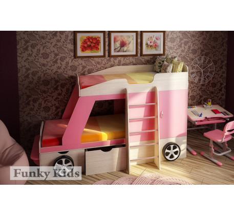 Двухъярусная кровать-машина для двоих детей Джип, спальные места кровати 1700*800 мм.