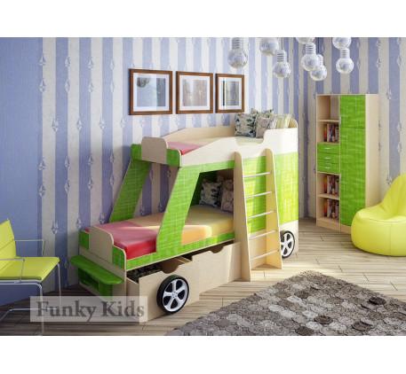 Кровать-машина для двоих детей Джип +стеллаж 13/9. Спальные места кровати 1700*800 мм.