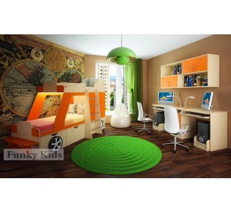 Детская двухэтажная кровать-машина Джип +стол 13/51 +мост 13/55. Спальные места кровати 1700*800 мм.