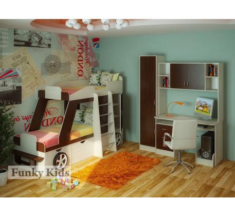 Двухъярусная кровать-машина для детей Джип +стол с надстройкой 13/14 +пенал 13/10. Спальные места кр..