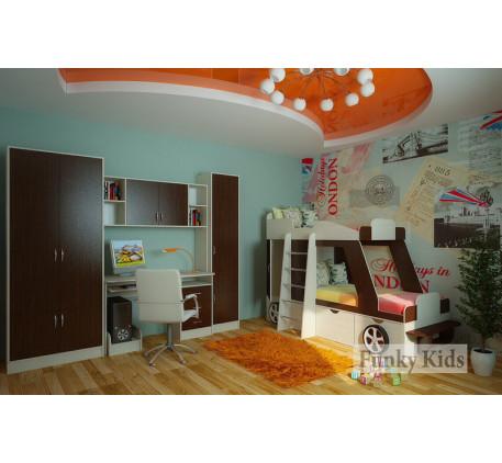 Детская кровать-машина для двоих детей Джип +13/9 +13/2. Спальные места кровати 1700*800 мм.