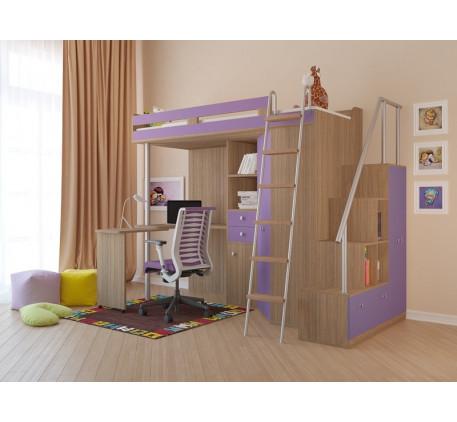 Кровать чердак М 85 Гранд с лестницей-стеллажом, спальное место кровати 195х80 см