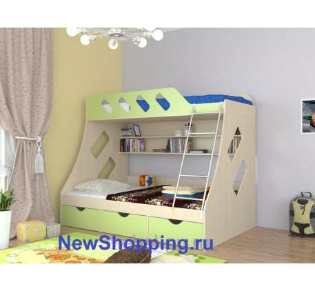 Двухъярусная кровать Дельта 20.01, нижнее спальное место кровати 1900*1200 мм, верхнее 1900*900 мм.