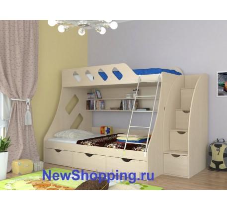 Двухъярусная кровать Дельта 20.01 +лестница-комод, нижнее спальное место кровати 1900*1200 мм, верхн..