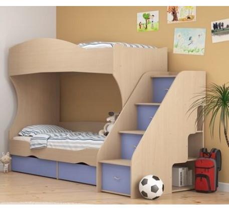 Двухъярусная кровать Дельта 20 +лестница 23-2, спальные места кровати 1900*800 мм.