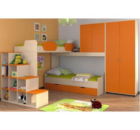Угловая кровать Дельта 18.05 верхняя +кровать нижняя Дельта 18.01 +лестница-стеллаж Дельта 18.06 +шк..