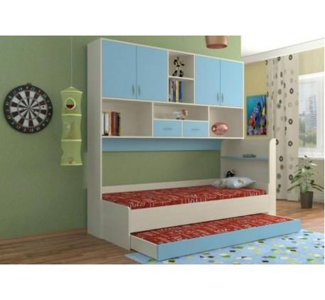 Выдвижная кровать для двоих детей с антресолью Дельта 21.03, спальные места кровати 1900*800 мм.