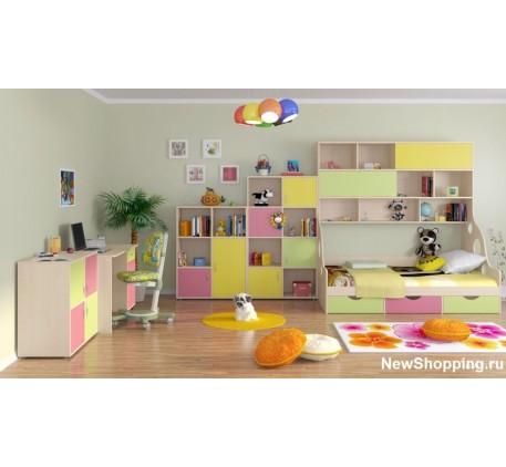 Детская мебель Дельта. Комната №1: Кровать с антресолью Дельта 21.01, Тумба Дельта 7.03, Тумба Дельт..