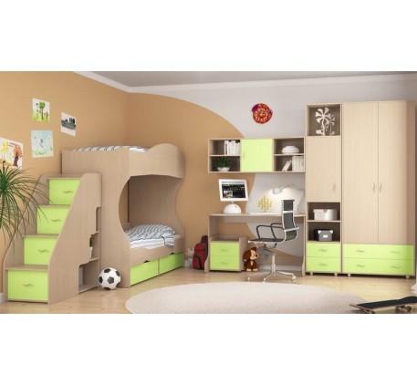 Детская мебель Дельта. Комната №2: Двухъярусная кровать Дельта 20, Лестница 23-2, Стол Дельта 15, Ту..