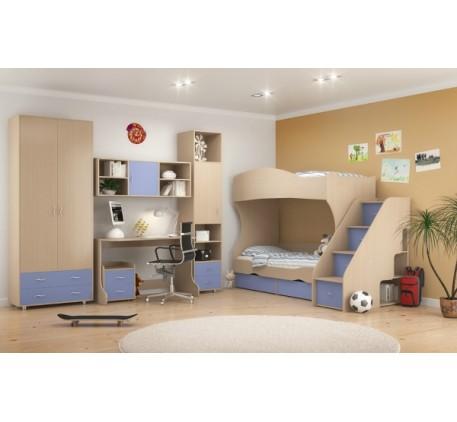 Детская мебель Дельта. Комната №3: Двухъярусная кровать Дельта 20, Лестница 23-2, Стол Дельта 15, Ту..