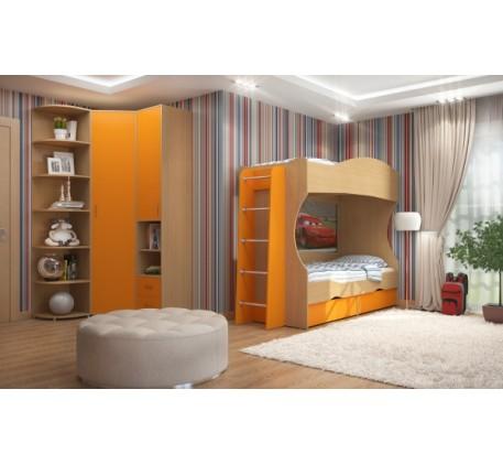 Детская мебель Дельта. Комната №4: Двухъярусная кровать Дельта 20, Лестница 23-1, Пенал Дельта-10, Ш..