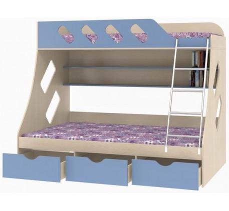 Двухъярусная кровать Дельта 20.01. Верхнее спальное место 1900*900 мм, нижнее 1900*1200 мм.