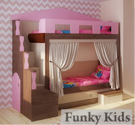 Двухъярусная кровать-домик Фанки Хоум, спальные места 180х80 см (Funky Home арт. 11002)