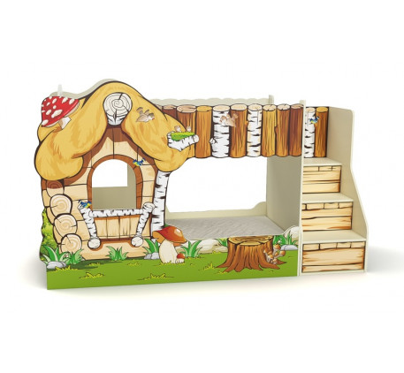 Двухъярусная кровать-домик Вивера, спальное место детской кровати-дома 170х80 см