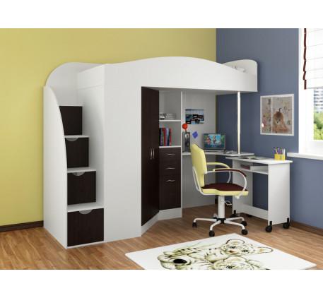 Кровать-чердак со столом Теремок-1 Гранд, спальное место кровати 190х80 см