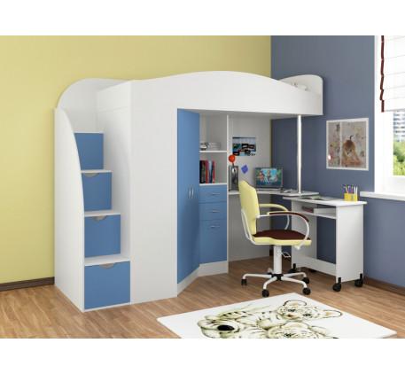 Кровать-чердак с рабочей зоной Теремок-1 Гранд, спальное место 190х80 см