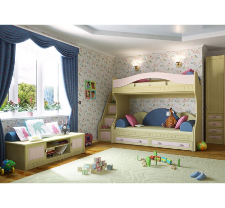 Детская мебель Итальянский мотив. Комната №1: тумба 51.302, тумба-лесенка 51.102.02, кровать-тахта 5..