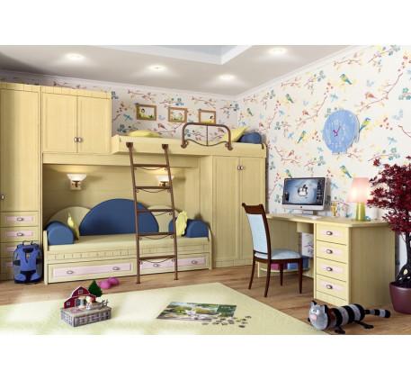 Детская мебель Итальянский мотив. Комната №2: шкаф 51.201.09, кровать двухъярусная 51.105.01, кроват..