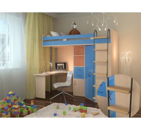 Кровать чердак для мальчика М-85, спальное место кровати 195х80 см