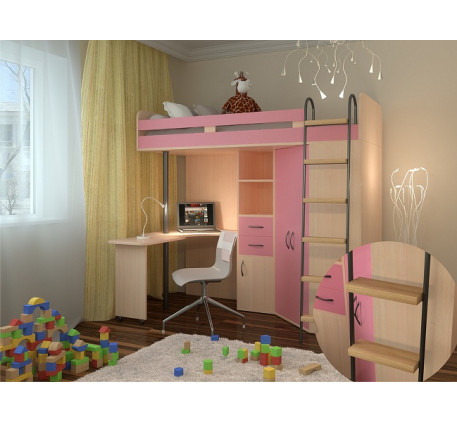 Кровать чердак для девочки М-85, спальное место кровати 195х80 см