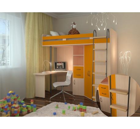 Кровать чердак со столом и шкафом М 85, спальное место кровати 195х80 см