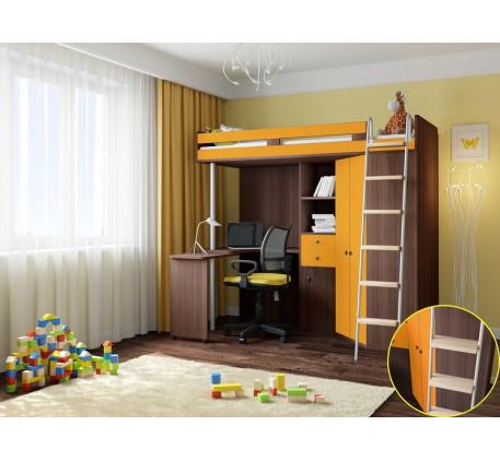 Детская кровать чердак с рабочей зоной М 85, спальное место кровати 195х80 см