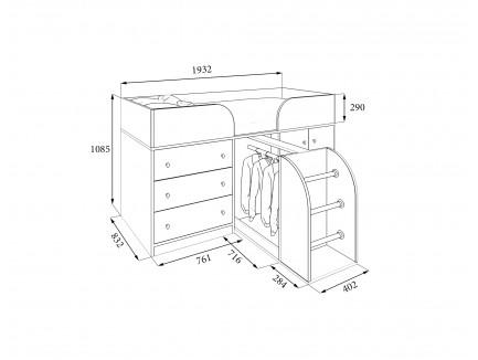 Кровать-чердак Астра-5 (детская «РВ-Мебель»)
