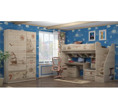 Детская мебель Квест. Комната №1 с высокой кроватью-чердаком 190х80 см