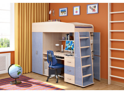 Кровать-чердак Легенда-1 для мальчика от 3 лет, спальное место 190х80 см