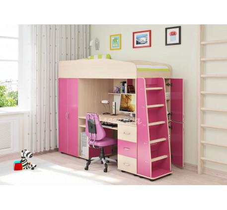 Кровать-чердак Легенда-1 с рабочей зоной для девочки, спальное место 190х80 см
