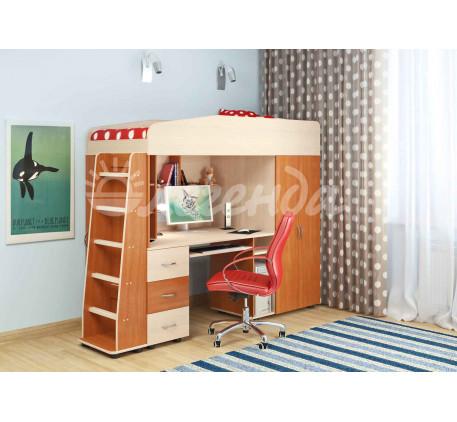 Кровать-чердак Легенда-1 с рабочей зоной для подростка, спальное место 190х80 см
