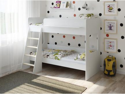 Двухъярусная кровать Легенда-25.1 белая, спальные места 180х80 см