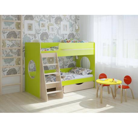 Двухъярусная маленькая кровать Легенда-25.2, спальные места 180х80 см