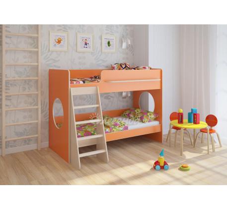 Двухъярусная низкая кровать Легенда-25.1, спальные места 180х80 см