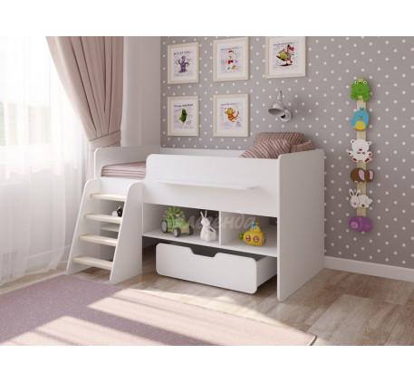 Кровать-чердак белая Легенда-6, спальное место 160х80 см