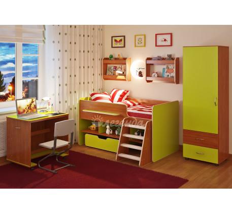 Детская комната Легенда №11: Кровать Легенда-6, полка Л-02 (2 шт), пенал Л-01, стол Л-02