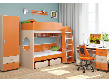 Детская комната Легенда №7: Кровать Легенда-7.1, пенал Л-01, стол Л-01, полка Л-01