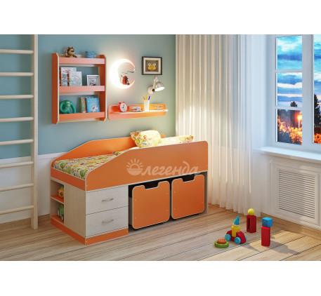 Детская кровать Легенда-8 с полками Л-01 и Л-03, спальное место 160х80 см