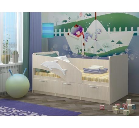 Детская кровать Дельфин-5 с ящиками и бортиком, спальное место 1,6х0,8 м