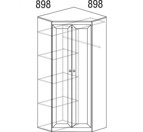 Шкаф угловой Инна 606, полка с штангой и колонка с 4 полками