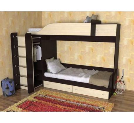 Детская двухъярусная кровать с шкафом Дуэт-3
