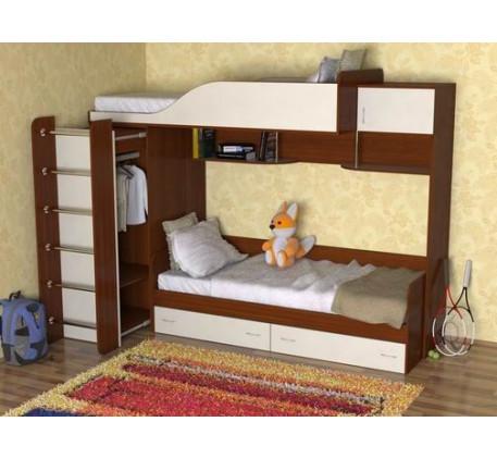 Двухъярусная кровать со шкафом Дуэт-3