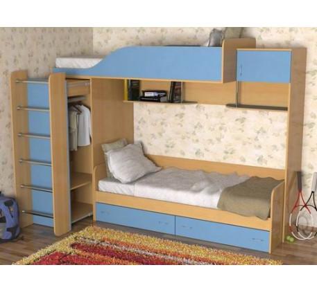Двухъярусная кровать со шкафом для мальчиков Дуэт-3